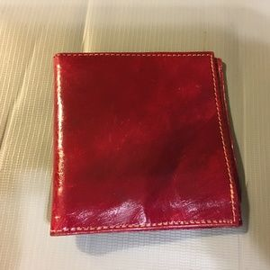 Handbags - Glazed Red Leather Billfold Bifold Wallet